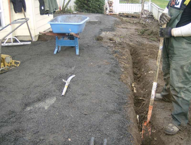 ... The Relative Thickness Is Of The Material We Lay The Pavers On. You Can  See Better By Noticing The Scuffed Part, Exposing The Original Cement Patio: